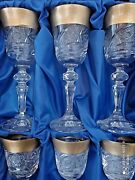 Czech Crystalite Liquer Glasses 90ml 6pc 14cm Decorated Gold Ii