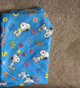 Peanuts Snoopy Vintage Twin Flat Bed Set Blue Fabric Let's Be Friends