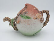 Antique Chinese Peach Form Cadogan Teapot Or Wine Pot With Flower Motif