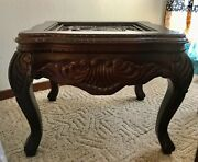 High End Ethan Allen Side Table Heavily Carved Solid Wood