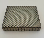 Large Antique 1930's Art Deco Solid Sterling Silver Mirror Makeup Compact 175g