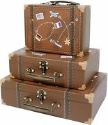 Vintage Suitcases Luggage Antique Chest Box Display Home Office Decor World Map