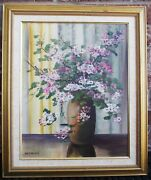 W R Thrasher 1908-1997 Cherry Blossoms Original Oil Painting On Wood Signed Cert