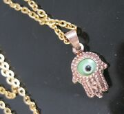 Hand Of God All Seeing Eye Glass Gold Vermeil Sterling Silver Pendant Necklace