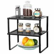 Spice Rack Cabinet Shelf Organizers, Set Of 2 Kitchen Shelves For Counter Cup...