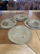 12andrdquo Vintage Solid Brass Serving Trays Hand Crafted / Hammered Chargers - 4