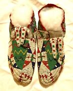 Nice Pair Of Antique Sioux Beaded Moccasins From The 1800's