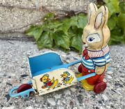 Vintage J. Chein Easter Rabbit With Cart Tin Litho Toy 1950andrsquos