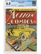 Action Comics 30 1940 Cgc 6.0 -superman- 1st App And Death Of Zolar Pre Wwii