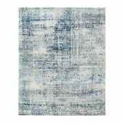 8and039x9and03910 Black And Blue Abstract Design Modern Wool And Silk Hand Knotted Rug G62416