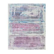 8and0391x10and0392 Pink And Purple Rothko Inspired Modern Woolandsilk Hand Made Rug G62427