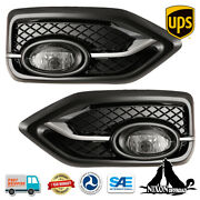 Driving Fog Light Front Lamps Pair Kits For 2014 2015 Honda Civic 2 Door Coupe
