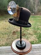 Men's Unusual Steampunk Stovepipe Hat W Miners Carbide Lamp Size 7-1/8 - 7-1/4