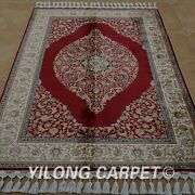Yilong 4'x6' Handknotted Silk Red Rug Home Decor Luxury Antistatic Carpet 1806