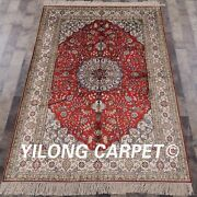 Yilong 4and039x6and039 Handknotted Silk Red Carpet Floral Home Decor Oriental Rug 876b