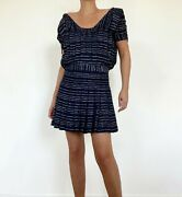 Blue Black And White Fantasy Sequins Tweed Cocktail Dress Fr 38 New