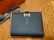 Authentic Brand New Hermes Bearn Compact Black Noir Wallet Rose Gold Hardware