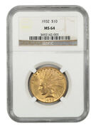 1932 10 Ngc Ms64 - Great Type Coin - Indian Eagle - Gold Coin - Great Type Coin