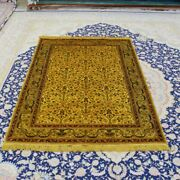 Yilong 4and039x6and039 Gold Handmade Carpet All Over Antique Hand Knotted Silk Rug 072b