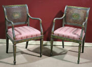 Pair Hand Painted Adams Style Cane Back Armchairs