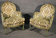 Pair Of French Louis Xv Style Green Painted Bergere Chairs Circa 1950s