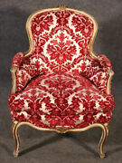 Classic French Louis Xv Paint Decorated Floral Velvet Bergere Chair Circa 1950