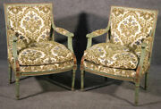 Pair Of Class Square Back Paint Decorated Louis Xvi Bergere Chairs Circa 1950