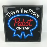 """Vintage Pabst Blue Ribbon """"on Tap"""" Lighted Beer Sign 17x17 This Is The Place"""