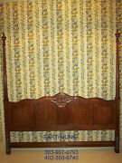Baker Furniture King Poster Headboard Oak Carved French Collection 86 H