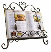 Antique Metal Cookbook Stand Recipe Book Stand For Kitchen Easel Weighted Chain