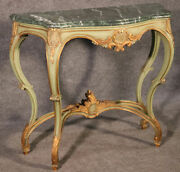 Paint Decorated French Louis Xv Verdi Green Marble Top Console Table C1950