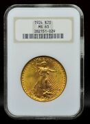 1924 Ngc Ms63 Old Fatty Holder 20 Gold Saint Gaudens Double Eagle [041dud]