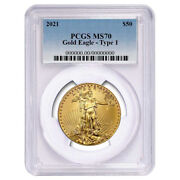 2021 50 Type 1 American Gold Eagle 1 Oz. Pcgs Ms70 Blue Label