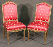 Pair Antique French Louis Xvi Painted And Gilded Side Chairs, Circa 1900