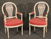 Pair Of Maison Jansen White Paint Decorated Dining Armchairs C1950