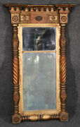 Carved And Gilded American Antique Federal Wall Mirror Circa 1850