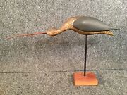 Mark Mcnair Sickle Billed Curlew Shorebird Carved Decoy Dated 1974