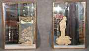 Rare Unique Pair Etched Figures Signed Chinese Faux Bamboo Gilded Mirrors