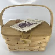 1994 Longaberger Signed Small Lunch Or Purse Basket Leather Hinge Toggle Button