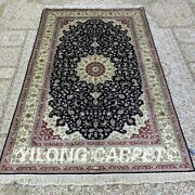 Yilong 4and039x6and039 Floral Handknotted Silk Carpet Oriental Home Indoor Area Rug H290b