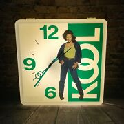 Large Kool Cigarette Lighted Clock Sign 23 X 23 Collectible Rare