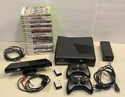 Microsoft Xbox 360 S Slim 4gb Console Kinect Bundle 2 Controllers 21 Games