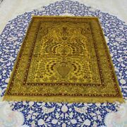 Yilong 4and039x6and039 Gold Antique Handmade Carpet Villa Hand Knotted Silk Area Rug 070b