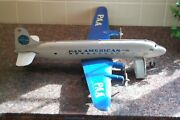 Marx Pan American Steel Clipper Meteor Toy Airplane With Ramp Stairs Circa 1952