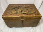 Antique Wooden Painted Dowry Tea Chest Indian   Hindu Art Ca. 18th-19th Century