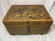 Antique Wooden Painted Dowry Tea Chest Indian | Hindu Art Ca. 18th-19th Century