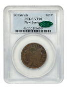 St Patrick 1/2 P Pcgs/cac Vf20 New Jersey Desirable Colonial Issue