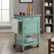 Country Kitchen Cart Island Stainless Steel Top Drawer Pine Wood Light Green