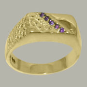 18ct Yellow Gold Natural Amethyst Mens Band Ring - Sizes N To Z