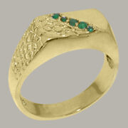 18ct Yellow Gold Natural Emerald Mens Band Ring - Sizes N To Z